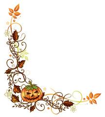 Halloween, Sankt Martin, Ranke, Kürbis, Laub, flora