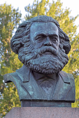 A bronze sculpture by Karl Marx in St. Petersburg, Russia
