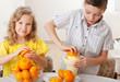 Children with oranges