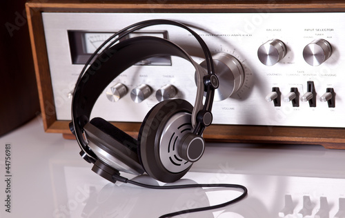Headphones connected to audio stereo devices