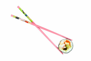 Isolated sushi with pink chopsticks