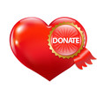 Red Heart With Label Donate