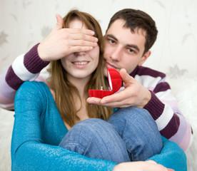 Attractive couple indoors