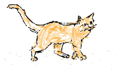 Freehand drawing a cat using a wiggly wobbly line.