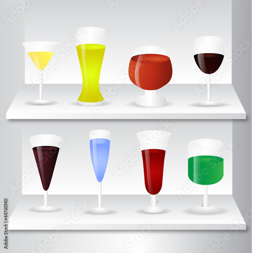 Set of different drinks