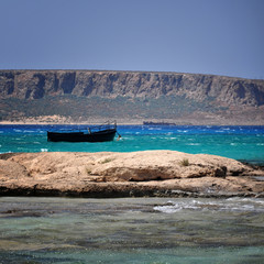 bay Balos with boat crete, Greece