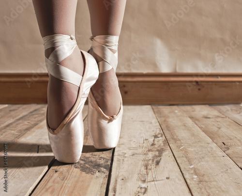 Leinwandbild Motiv Ballet Shoes on Wooden Floor