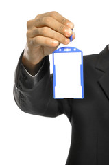 Holding Blank Name Tag