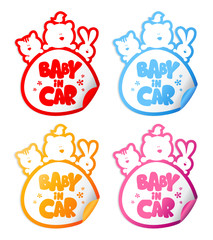Baby in car stickers with funny animals