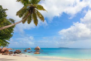 Tropical beach on the Praslin island, Seychelles