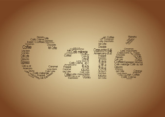 Café Schlagwortwolke - Cappuccino, Latte...