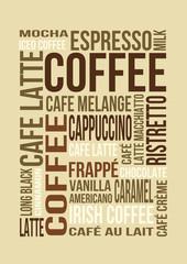 coffee tagcloud hellbraun/beige