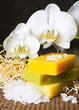 Spa: natural hand-made colourful soap and white orchids