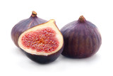 Two Figs  and Slice Isolation on White Background