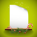 Green Christmas greeting card with empty paper on the shelf