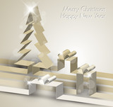 Fototapety Merry Christmas card made from paper stripes