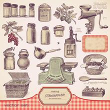 Wektorowa zestaw: konserwy i domowe jedzenie