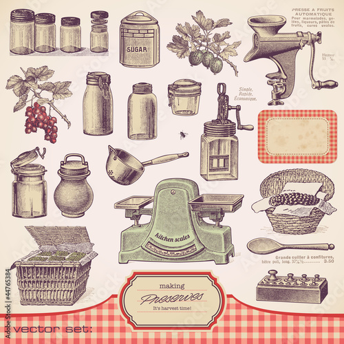 vector set: preserves and homemade food