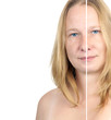 before / after image of a woman