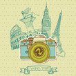 Lovely Card - Vintage Camera with Europe Architecture -in vector