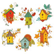 Decorative Autumn branches with Birdhouses-for scrapbook-vector