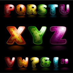 Glossy alphabet (global colors, easy to edit)