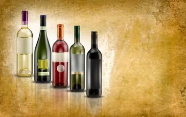 bottiglie di vino su fondo antico