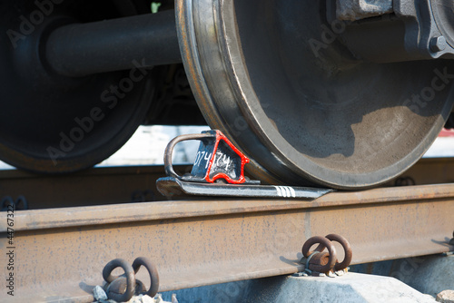 Wheels of train by close view