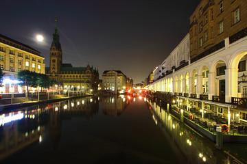 Hamburger Innenalster und Rathaus bei Nacht