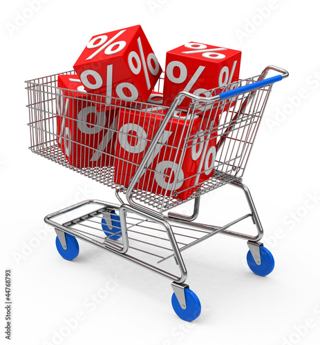 Der Einkaufswagen mit satten Rabatten
