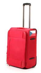red suitcase with sticker with flag of Czech Republic isolated