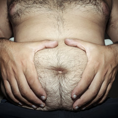 belly fat and hairy man