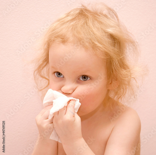 baby girl  has a runny nose