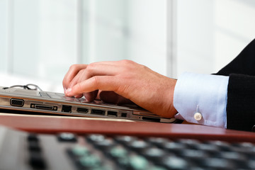 Worker using a laptop computer