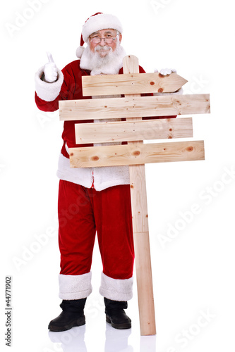 Santa with wooden sign