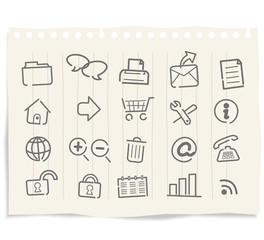 Web icons, buttons grunge paper vector