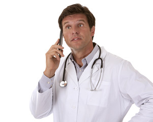 male doctor on the phone