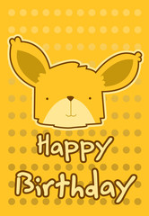 birthday card with illustration cute fox