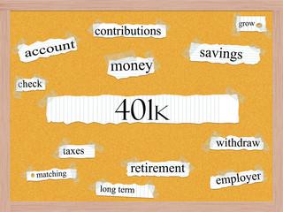 401k Corkboard Word Concept