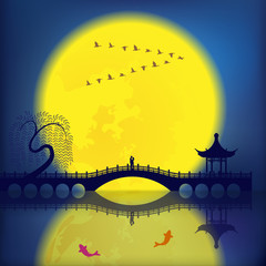 Oriental Ancient Scenery: Arch Bridge, Pavilion, Willow, Fish an