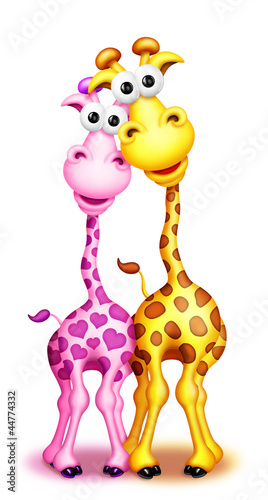 Whimsical Cute Cartoon Giraffes Boy and Girl