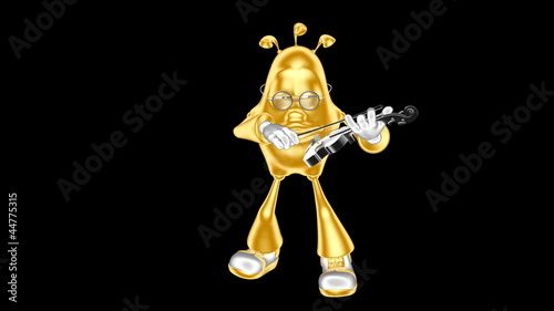 Golden 3D man mr. Multic playing the violin . Loop movie