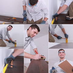 Mosaic of man laying laminate flooring