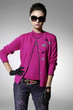 fashion model in fashion sunglasses in light background