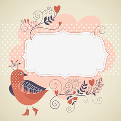 frame for your text with flowers and bird