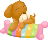 dog with pillow vector Illustraiton