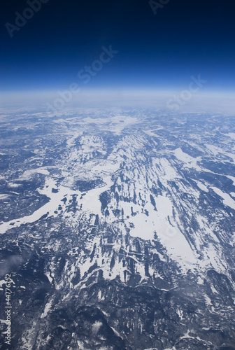 High altitude view of the frozen tundra in Arctic Canada.