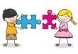 Niños con piezas de puzzle