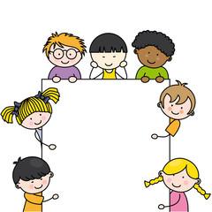 Cartel con niños para texto