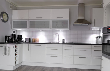 Modern kitchen in white color